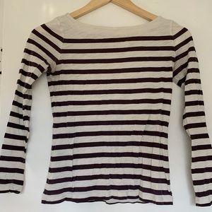 Purple striped long sleeve shirt